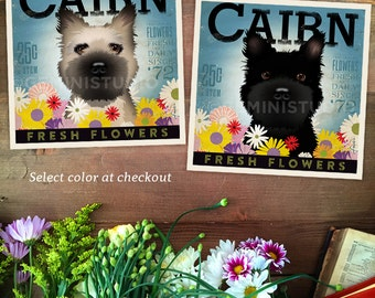 Cairn Terrier dog flower company artwork illustration giclee archival signed artists print  by stephen fowler