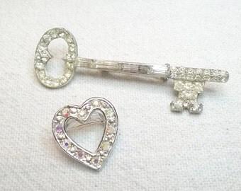 Key Brooch, Rhinestone Skeleton Key , and Heart Pin 2 pin lot offering Key to my Heart