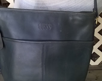 Guess 1980s All Leather Purse, Semi Bucket Style Tote in a Blueish Gray Colour , Real Leather, Cross Body Heavy Leather