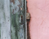 Green Door, Pink Wall - Architectural Detail of a Pink Stucco Cottage - Original Colour Film Matted Photograph by Suzanne MacCrone Rogers