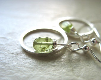 Peridot Earrings, Peridot Silver Hoop Earrings, Handmade Gemstone Dangle Drop Earrings, Metalwork Earrings