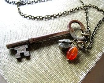 Gemstone Jewelry, Skeleton Key Necklace, Carnelian Pyrite Stone Necklace, Gemstone Necklace, Pendant Necklace, Carnelian, Pyrite
