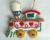 Vintage Handmade Train Ornament - Felt, beads, rick rack and sequins - from the 1970's - bright and cheery