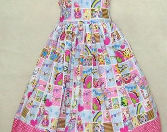 Hot Pink Polka Dots Girl Dress, Shopkins Inspired Girl Dress, Little Girl Dress, Tea Time Girl Dress, Birthday Girl Dress, Pink Girl Dress
