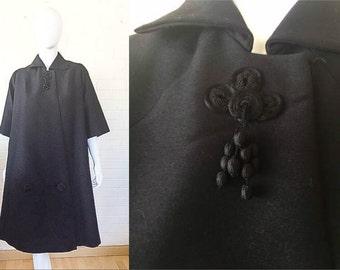 1960s Vintage Black Wool OPERA Evening A line Cut Maternity? Jacket Coat M