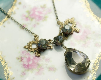 Antique crystal bridal necklace grey jewel vintage brass filigree estate style victorian gem wedding jewelry