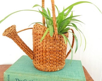 Just a Little Sprinkle... Vintage Watering Can Sprinkling Can Planter Pot Woven Wicker Basket
