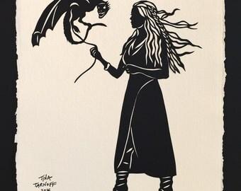 Game of Thrones - Khaleesi Papercut - Hand-Cut Silhouette Papercut