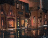 original art  aceo drawing victorian night downtown rainy scene
