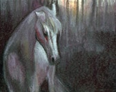 original art  aceo drawing white horse in misty forest