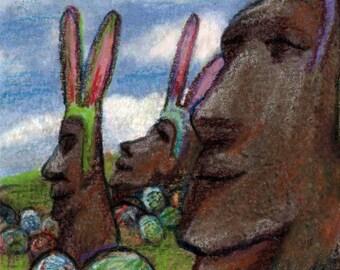 original aceo art color  pencil drawing easter island eggs