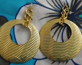 Lightweight Large Gold Tone PIerced Earrings