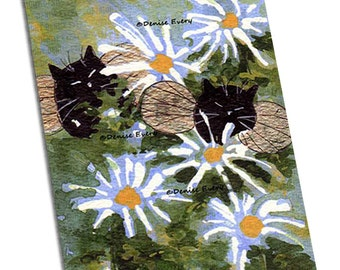 Black Cat Art Print Abstract Cat Art Print Black Cats Kitty Fairy Daisies Daisy cat gift cat lover black cat print cat artwork Denise Every