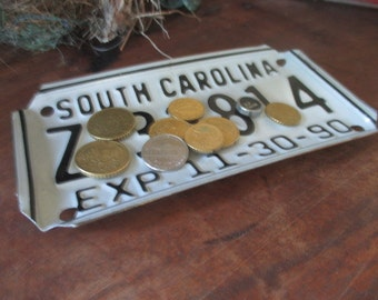 Repurposed License Plate Coin and Key Tray - South Carolina Motorcycle Plate - FREE SHIPPING