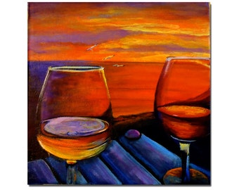 "8""x8"" Original acrylic on canvas. ""Relaxing at sunset"""