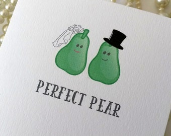 Handmade Wedding Card, Wedding Day Cards, Perfect Pear, Wedding Congratulations, Wedding Card UK, Bride and Groom Gifts, Happy Couple Card