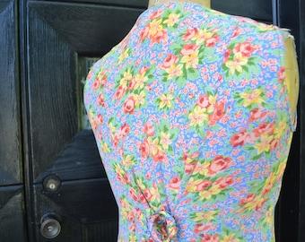 Vintage April Cornell dress-80 floral Dress-Maxi floral dress