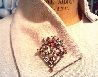 Vintage Exquisite Scottish Luckenbooth style brooch heart and crown with rhinestones FREE SH