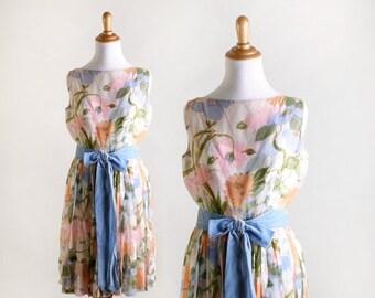 ON SALE Vintage 1960s Floral Dress - Botanical Saks Fifth Avenue Summer Dress - Medium Small