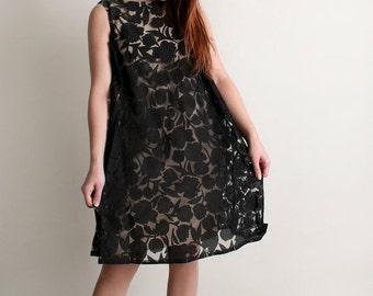 ON SALE Vintage 1960s Dress - Floral Shadow Overlay Twiggy Babydoll Dress - Medium