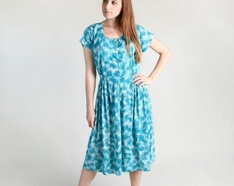 ON SALE Vintage 1960s Dress - Turquoise Floral Watercolor Day Dress - Large