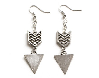 Chevron and Triangle Antique Silver Dangle Earrings