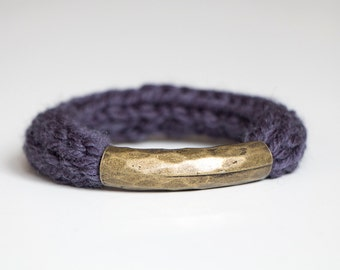Knitted Merino Hammered Bronze Cuff