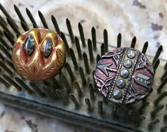 Antique Cut Steel Buttons, Tinted, 2 ... Diamond Faceted Cut Steels, Arrow Motif, Art Nouveau, Victorian, Vintage Picture Button