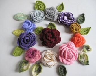 Crochet Applique Flowers, 11 pcs flowers, roses, 14 pcs leaves, Crochet Brooches