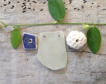 RARE FINDS...3 beach finds, sea glass coral pottery,natural beads jewelry making pendants
