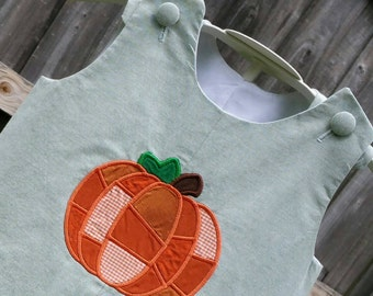 Patchwork Pumpkin Chambray Boy's Jon Jon or Longall