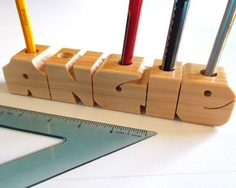 Pen Name - Desk Name with Organizer Holes - Custom Made to Order
