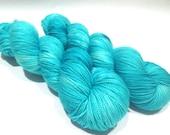 Hand Dyed Yarn – Superwash Merino Wool Cashmere Nylon MCN Sock Yarn  - Aqua Semi Solid - 400 Yards – Fingering Weight Yarn