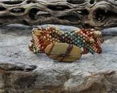 Jewelry - Free Form Peyote Stitch Beaded Bracelet  - Bead Weaving - Red Creek Jasper  BOHO