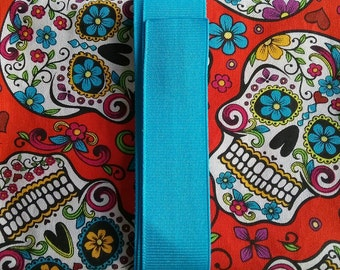 Sugar Skull Red Background w/ Turquoise Ribbon Tarot Card/Oracle Pouch with Quartz Crystal Reiki Charged
