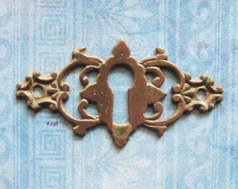 Antique Escutcheon Brass Gothic Celtic Cross Furniture Plate Skeleton Key Hardware Repurpose Jewelry Finding