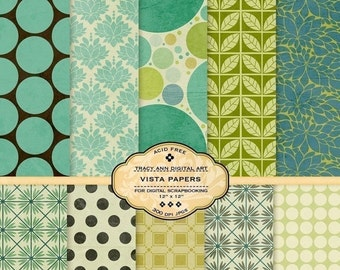 Vista Digital Paper Pack for invites, card making, digital scrapbooking