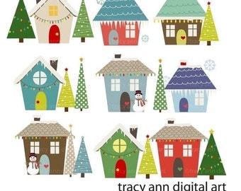 Winter Houses Clipart   Christmas Xmas Holiday Clipart  images