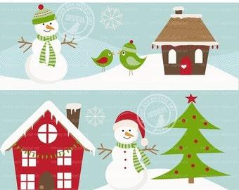 Christmas Scene Winter Set,  Snowman, Tree, House Clip Art PNG& JPG