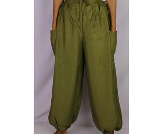Boho Hippie Olive Green Rayon Elastic Waist Long Aladdin Summer pants (AP02)