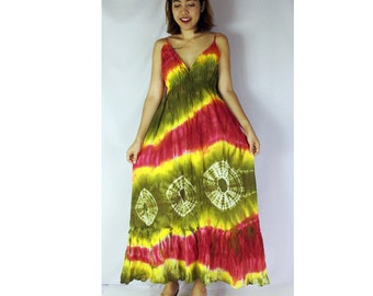 Colorful Tie Dye Cotton Big Halter Back Smock Maxi Women Summer Dress (DMSS 350)