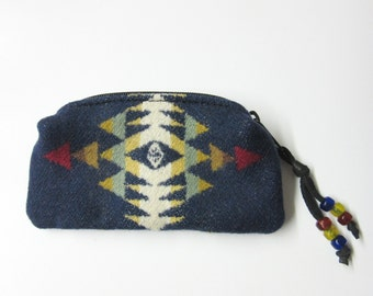 Wool Zippered Pouch Coin Purse Change Purse Beaded Accessory Organizer Southwest