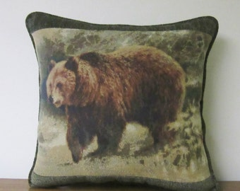 Large Tapestry Pillow Grizzly Bear Cabin Lodge Decor Woodlands Brown Green