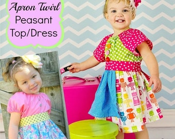 SALE Apron Twirl Peasant Top/Dress Sewing Pattern PDF Tutorial ebook -- 0m through 12 girls Instant