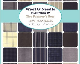 """Moda Wool & Needle Flannels The Farmer's Son Precut 5"""" Charm Pack Fabric Quilting Cotton Squares 1190PPF"""