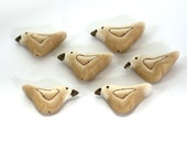 Dove Beads, Bird Beads, White Polymer Clay Beads 6 pieces