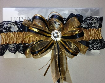 Gold, Black and Silver Prom Garter