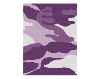 INSTANT DOWNLOAD Chella Crochet Camouflage Camo Purple Afghan Crochet Pattern Graph Chart .PDF