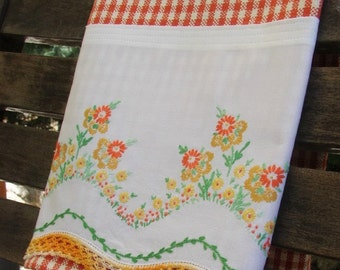 Vintage Recycled Pillowcase to Upcycled Bright Fall Posies Tea Towel Dish Towel  Kitchen Home Decor Flowers Burnt Orange & Cream Check