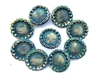 9 Vintage glass buttons flower shape hand painted  23mm
